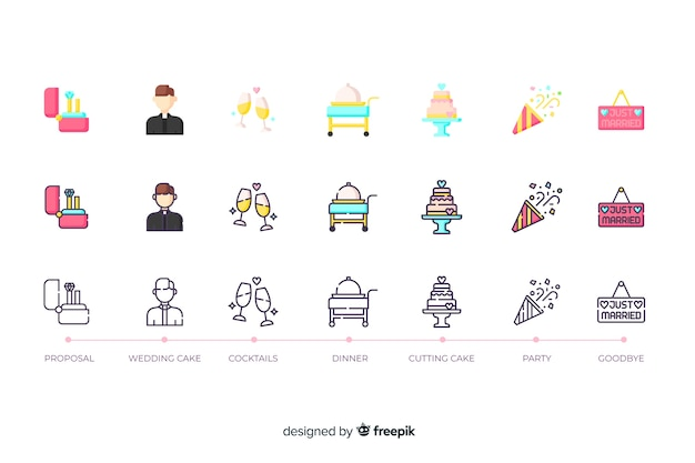 Collezione di icone per il matrimonio in design piatto