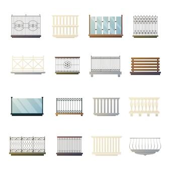 Collezione di icone piane di parapetti di balcone