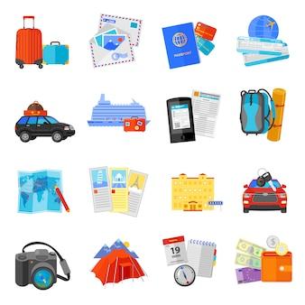 Collezione di icone piane di viaggio vacanza
