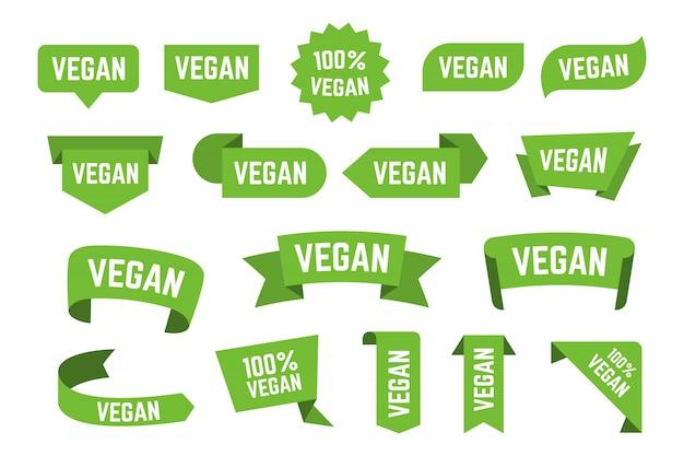 Collezione di icone piatte di loghi bio dieta vegetariana