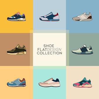 Collezione di icone piatte di scarpe