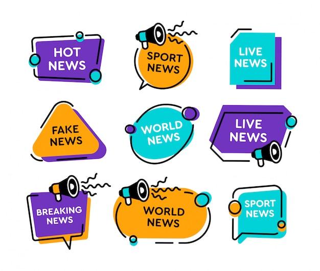 Collezione di icone piatte distintivi e banner di notizie