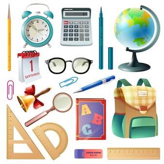 Collezione di icone realistiche forniture scolastiche