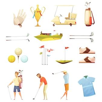 Collezione di icone retrò dei cartoni animati di giocatori di golf e accessori con mettere i guanti di bandiere