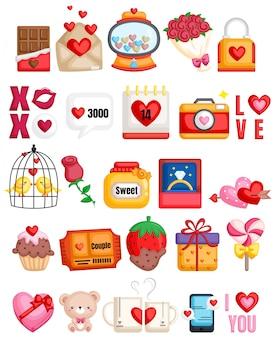 Collezione di icone romantiche