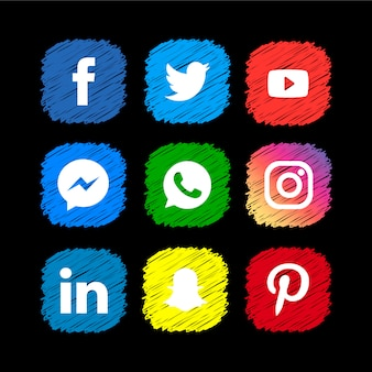 Collezione di icone social media scribble