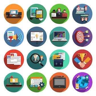 Collezione di icone tonde piatte freelance
