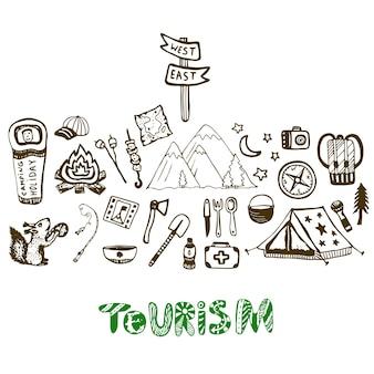 Collezione di icone vacanze campeggio disegnati a mano. sfondo vacanza estiva. set di turismo