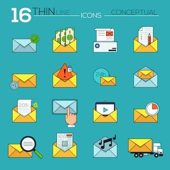 Collezione di icone vettoriali moderno sottile linea piatta