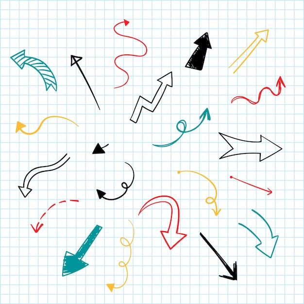 Collezione di illustrazione freccia disegnata a mano