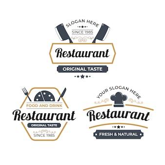 Collezione di illustrazione logo ristorante retrò