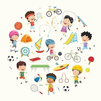Collezione di illustrazione vettoriale di bambini e attrezzature sportive