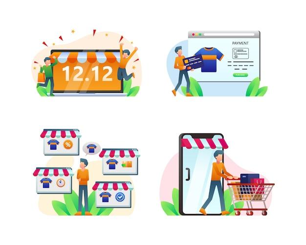 Collezione di illustrazioni dello shopping online