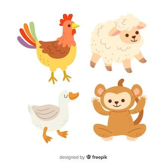 Collezione di illustrazioni di animali carino