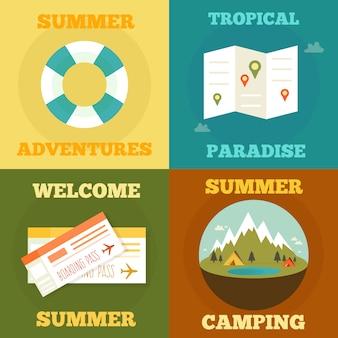 Collezione di illustrazioni di attività estive