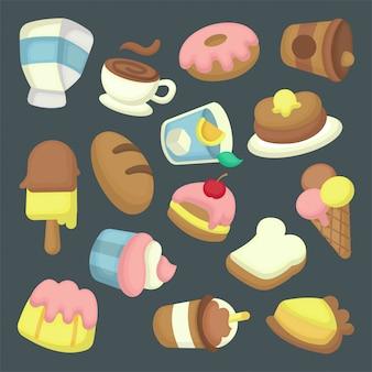 Collezione di illustrazioni di dessert