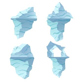 Collezione di illustrazioni di iceberg