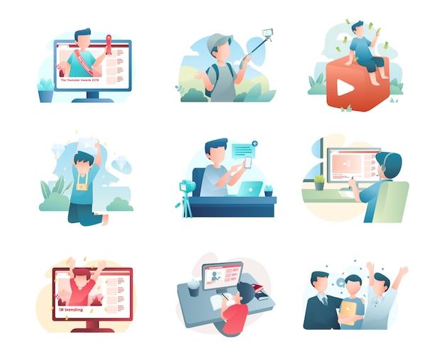 Collezione di illustrazioni youtuber