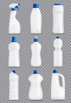 Collezione di imballaggi bottiglie detergenti