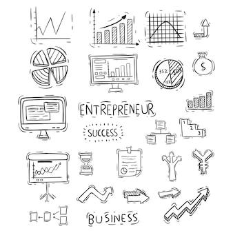 Collezione di infografica o grafici con stile disegnato a mano o doodle