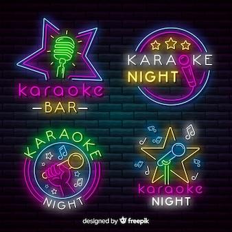 Collezione di insegne al neon con luce al neon per karaoke