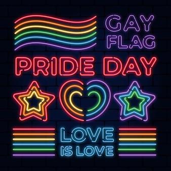 Collezione di insegne al neon del pride day