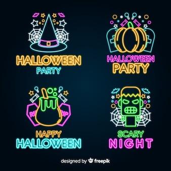 Collezione di insegne al neon di halloween