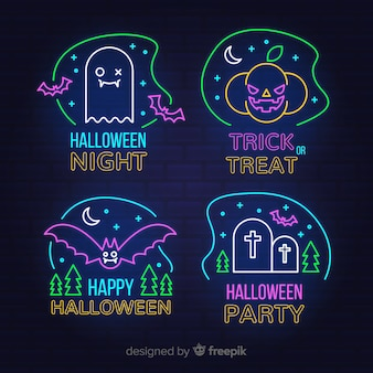 Collezione di insegne al neon di notte di halloween