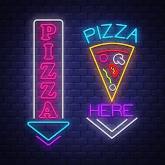 Collezione di insegne al neon di pizza