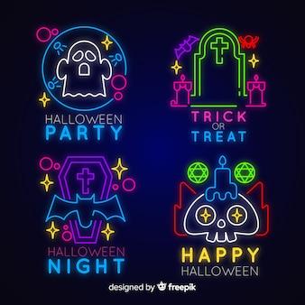Collezione di insegne al neon per halloween