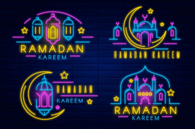 Collezione di insegne al neon ramadan