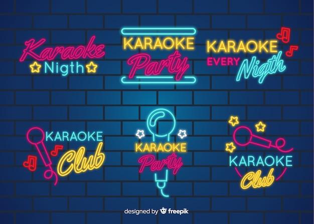 Collezione di insegne luminose al neon di notte karaoke
