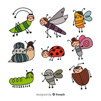 Collezione di insetti animati