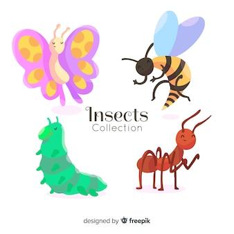 Collezione di insetti disegnati a mano