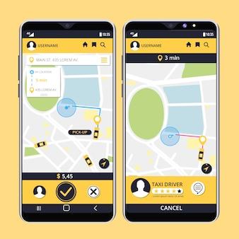 Collezione di interfaccia app taxi