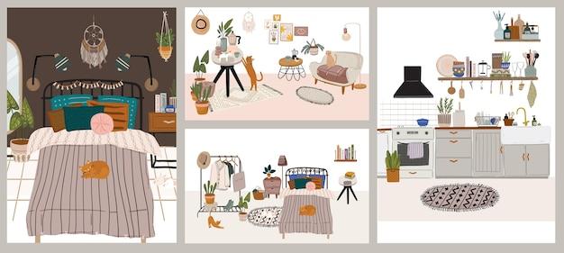 Collezione di interni con mobili eleganti e confortevoli e decorazioni per la casa. pacchetto di accoglienti salotti