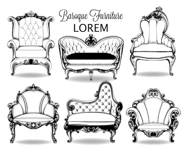 Collezione di intricate collezioni di poltrone e divani barocchi