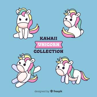 Collezione di kawaii unicorno disegnata a mano