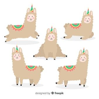 Collezione di lama stile kawaii unicorno