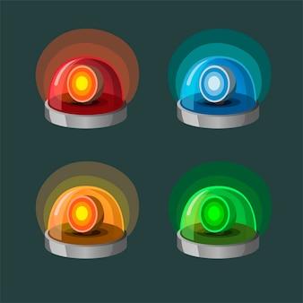 Collezione di lampade a sirena icon set in 4 varianti di colore. simbolo per la polizia, l'ambulanza e il concetto del dipartimento dei vigili del fuoco di emergenza nell'illustrazione del fumetto