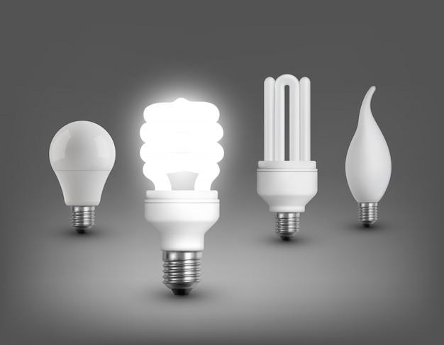 Collezione di lampade realistiche
