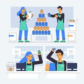 Collezione di lavoratori del supermercato