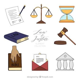 Collezione di legge e giustizia con stile disegnato a mano