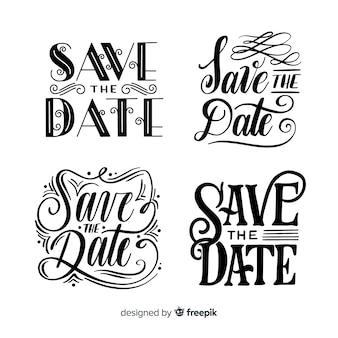 Collezione di lettere con design vintage