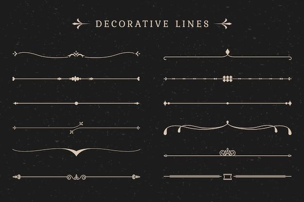 Collezione di linee decorative vintage