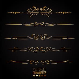 Collezione di linee e ornamenti regola d'oro