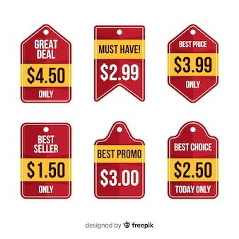 Collezione di listini prezzi di etichette piatte
