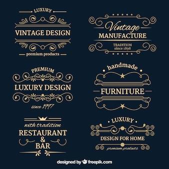 Collezione di loghi con stile vintage e di lusso