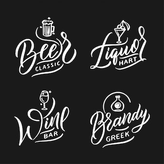 Collezione di loghi di cibi e bevande. set di moderni badge fatti a mano, emblemi, etichette, elementi, simboli, frasi.