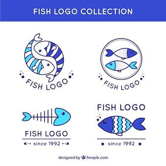 Collezione di loghi di pesce in diversi blues